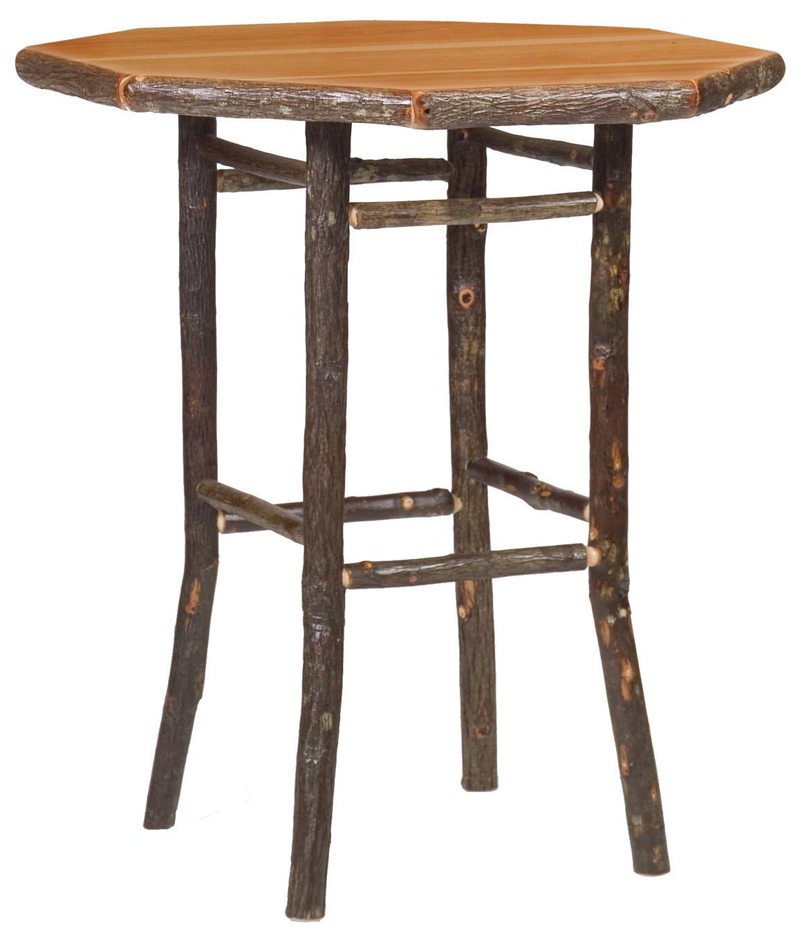 "Hickory Log Round Pub Table - 32"", 36"", 40"" - Standard Finish - Rustic Deco Incorporated"