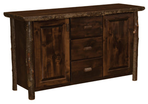 Authentic Hickory Log Sideboard - Live Edge Top - Bark on Legs - Custom USA-Rustic Deco Incorporated