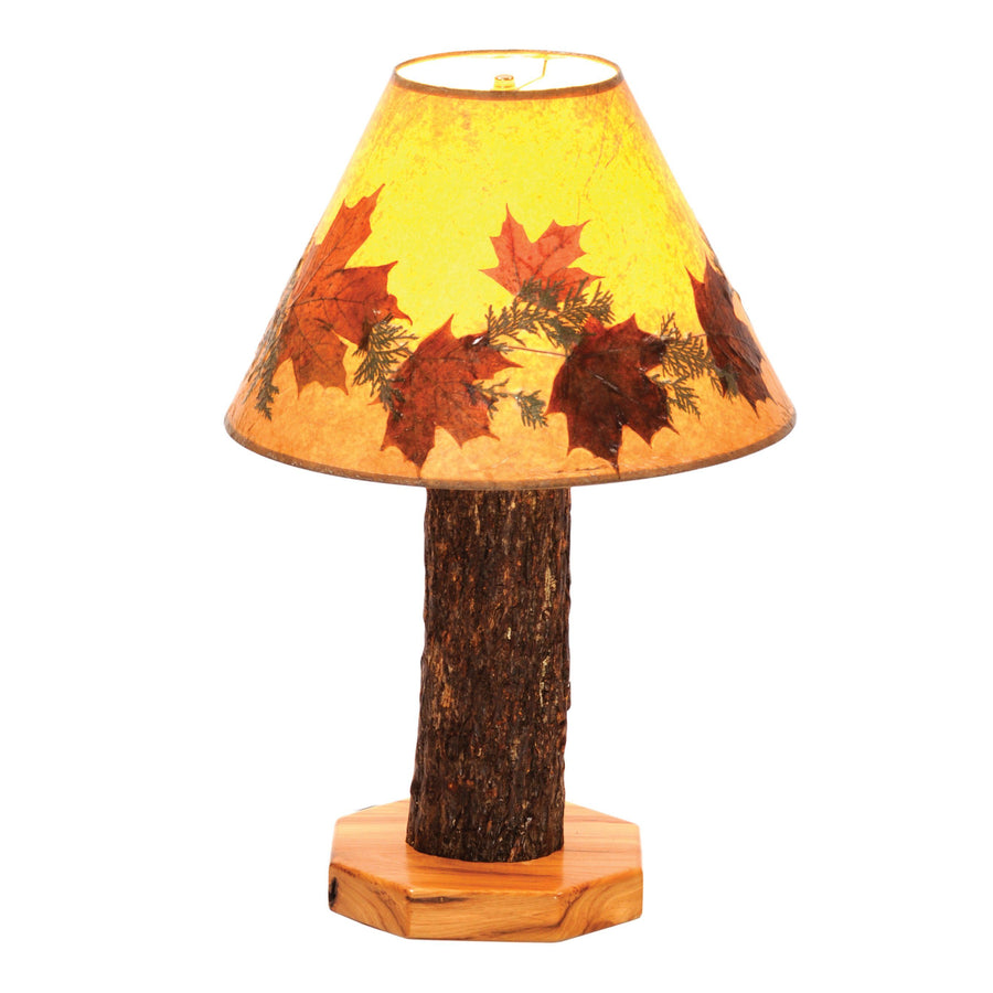 Hickory Log Table Lamp - with Large Foliage Lamp Shade-Rustic Deco Incorporated