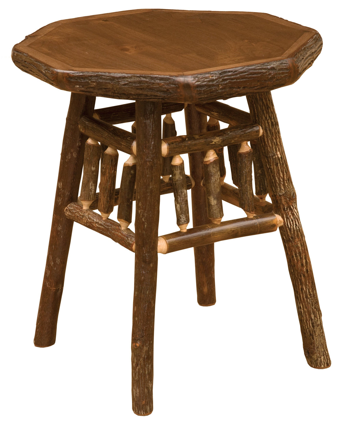 Hickory Log Teton End Table - Standard Finish - Rustic Deco Incorporated