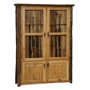 Hickory Log Twelve Gun Cabinet - Standard Finish - Rustic Deco Incorporated