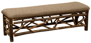 Hickory Log Twig 48-60-72 Inch Bench with Upholstered Seat - Standard Finish - Rustic Deco Incorporated