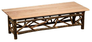 Hickory Log Twig Bench - 48-60-72-inch - Wood seat - Standard Finish-Rustic Deco Incorporated