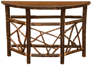 Hickory Log Twig Entryway Accent Table Half Moon - Ornate Base - Bark On - Rustic Deco Incorporated