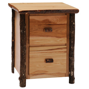 Hickory Log Two Drawer File Cabinet - Standard Finish - Rustic Deco Incorporated