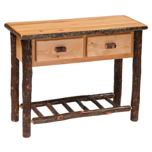 Hickory Log Two Drawer Sofa Table - Hand Peeled Logs - Custom USA - Rustic Deco Incorporated