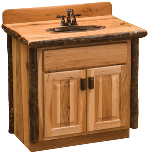Hickory Log Vanity - 30, 36, 42, 48 Inch without Top -Sink Center - Rustic Deco Incorporated