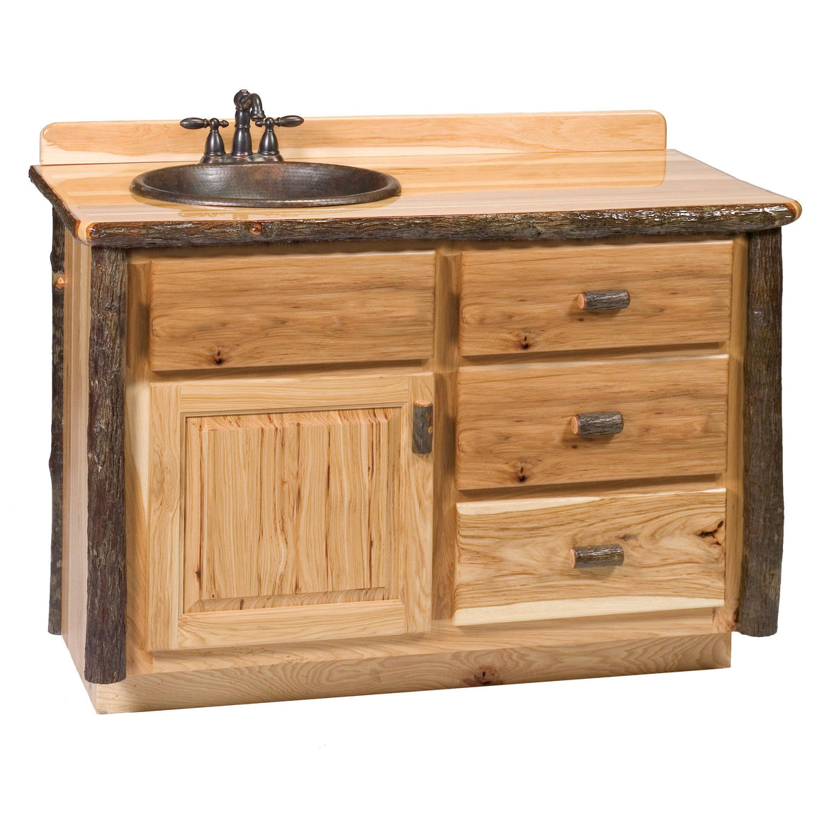 Hickory Log Vanity - 36, 42, 48 Inch without Top - Sink Left - Rustic Deco Incorporated