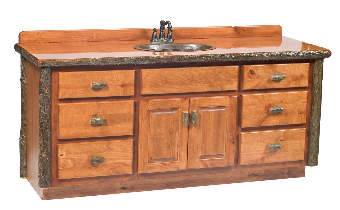 Hickory Log Vanity - 60, 72 inches without Top -Sink Left and Right - Rustic Deco Incorporated