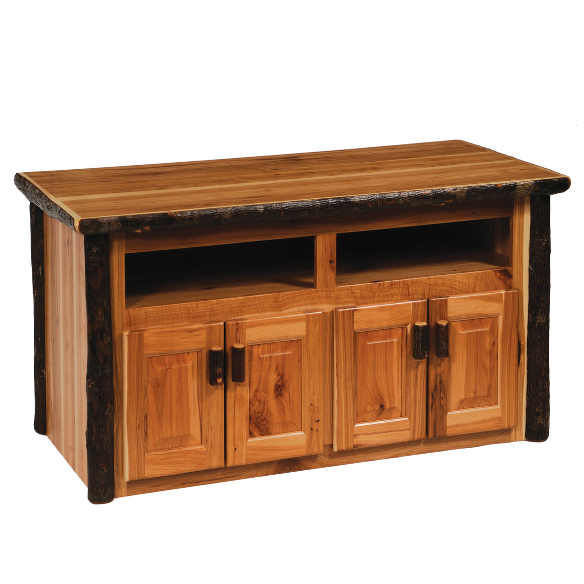 Hickory Log Widescreen Television Stand - Standard Finish - Rustic Deco Incorporated