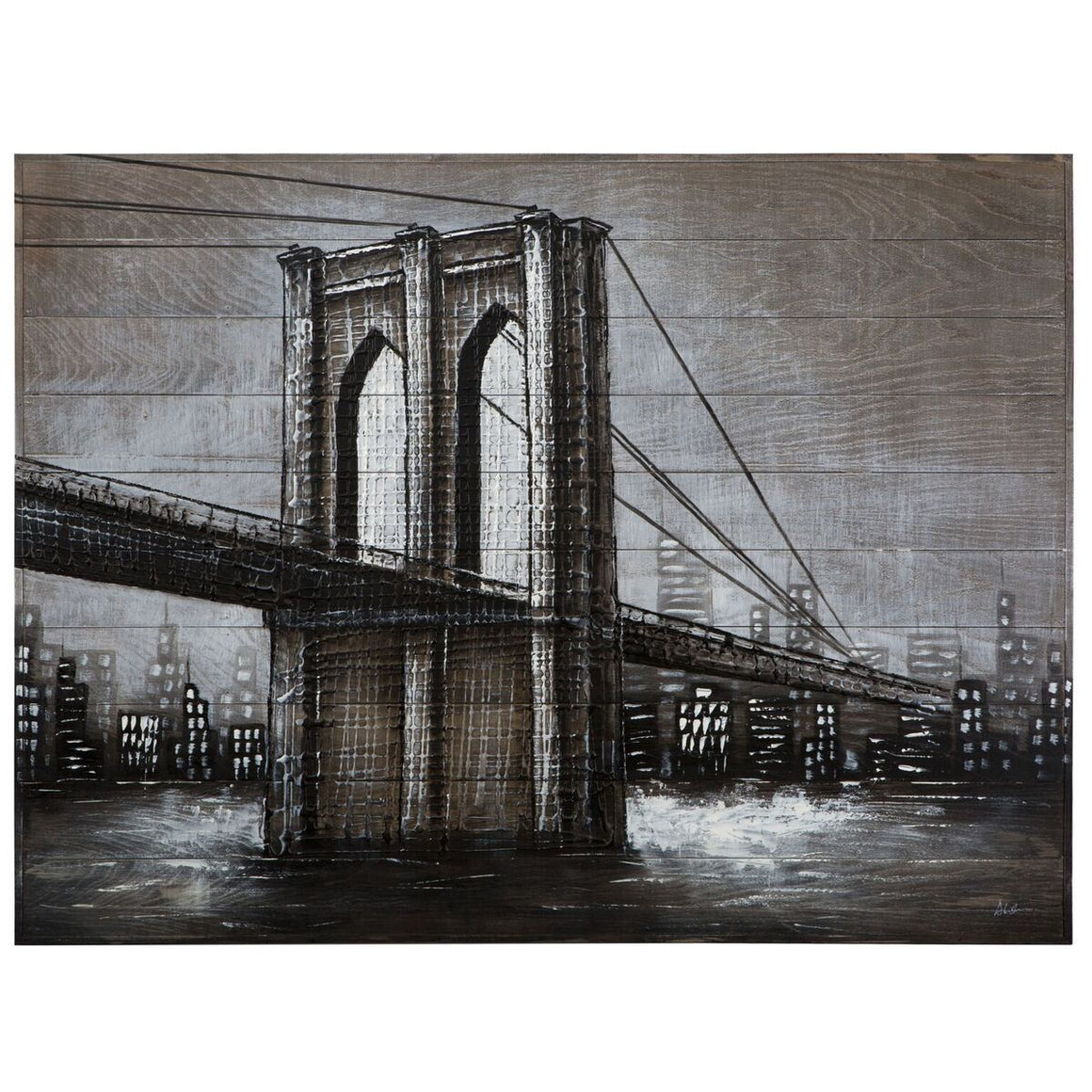 Highway to the City Bridge City - Solid Wood Canvas Painting-Rustic Deco Incorporated