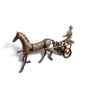 Horse and Cart Chariot Cast Iron Metal Sculpture Figurine - Rustic Deco Incorporated