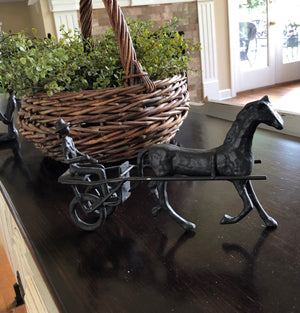 Horse & Chariot Cast Iron Metal Sculpture - Rustic Deco Incorporated
