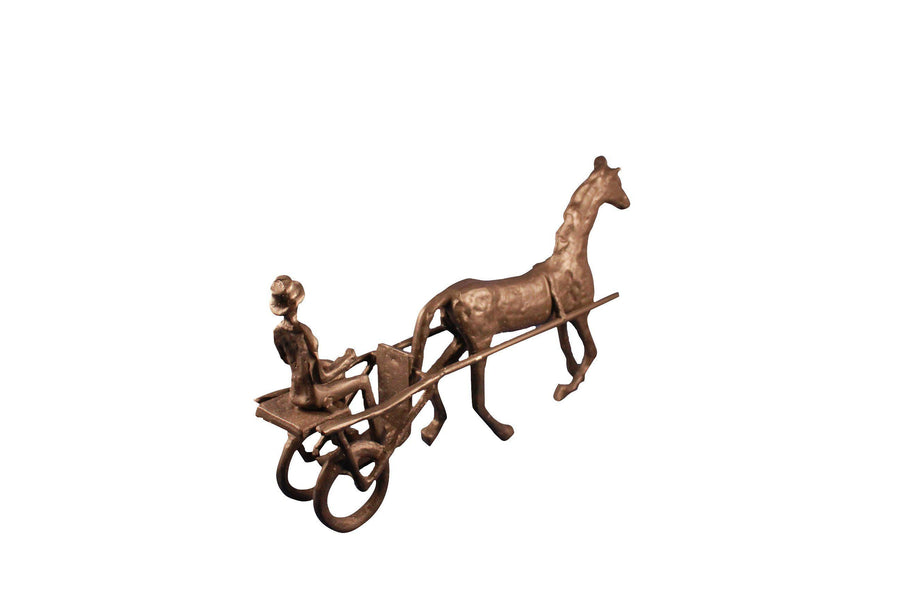 Horse and Cart Figurine - Cast Iron Metal Sculpture - Rustic Deco Incorporated