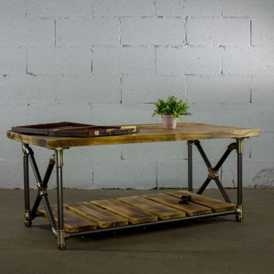 Magnificent Houston Industrial Chic Metal Pipe Coffee Table Solid Wood Ocoug Best Dining Table And Chair Ideas Images Ocougorg
