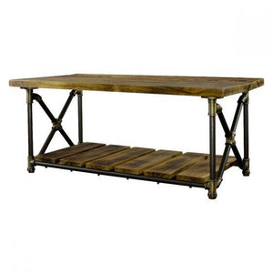 Houston Industrial Chic Metal Pipe Coffee Table - Solid Wood-Rustic Deco Incorporated