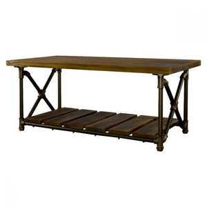 Houston Industrial Chic Metal Pipe Coffee Table - Solid Wood - Rustic Deco Incorporated