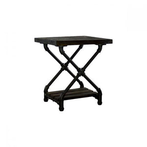 Houston Industrial Chic Pipe Side Table Side Table Furniture Pipeline Black with Dark Stain