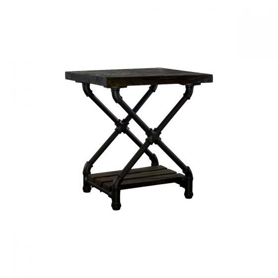 Houston Industrial Chic Pipe Side Table Side Table Furniture Pipeline Brass with Natural