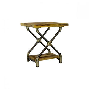 Houston Industrial Chic Pipe Side Table - Solid Wood - Rustic Deco Incorporated
