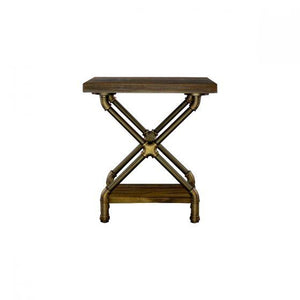 Houston Industrial Chic Pipe Side Table Side Table Furniture Pipeline Bronze with Light Brown Stain