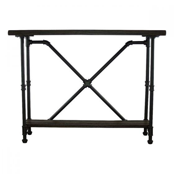 Houston Industrial Pipe Sofa Table Console - Unique - Solid Wood - Rustic Deco Incorporated