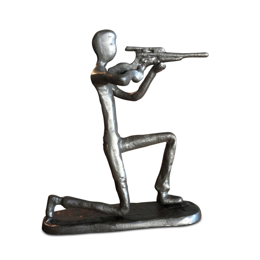 Rifleman Hunter Shooter Sculpture Figurine - Metal - Cast Iron - Rustic Deco Incorporated