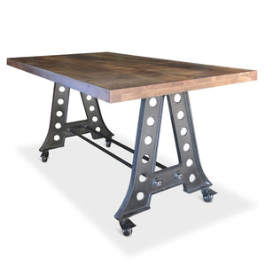 Industrial A-Frame Counter Height Pub Gathering Table or Island with Casters - Rustic Deco Incorporated