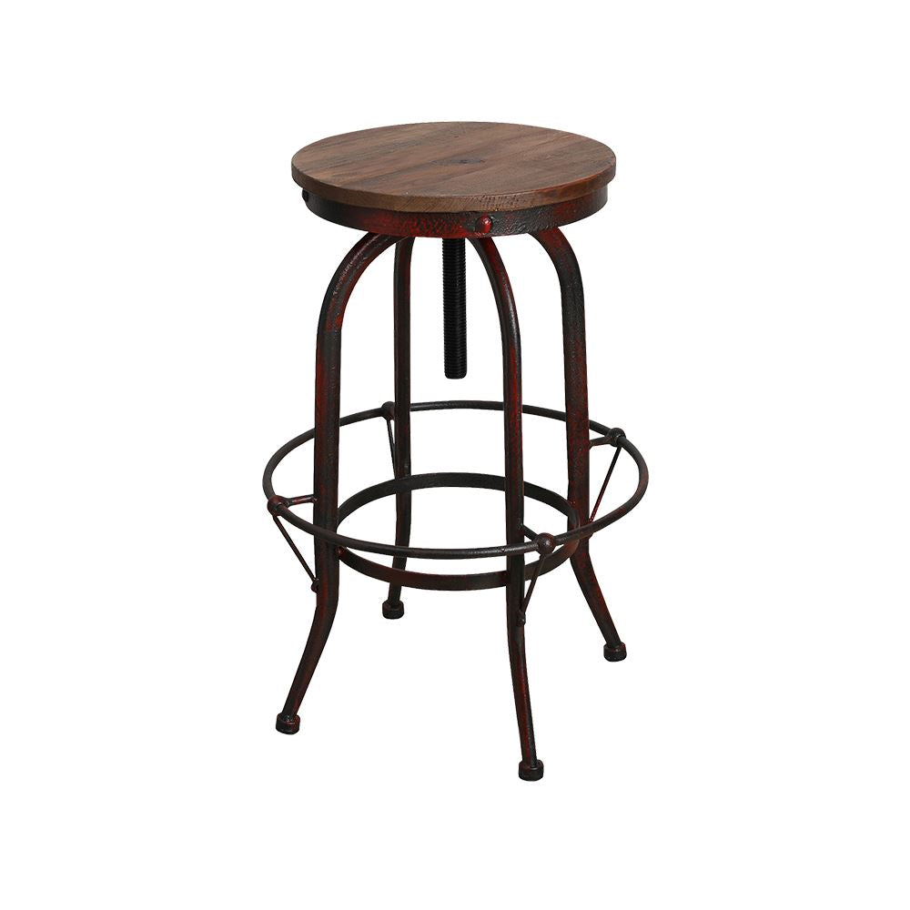 Industrial Adjustable Bar Stool - Forged in Iron - Wood Seat - Rustic Deco Incorporated