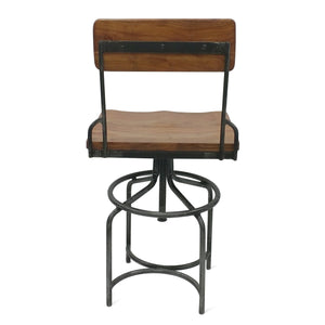Vintage Industrial Adjustable Height Chair Bar Stool - Swivel Seat - Pair - Rustic Deco Incorporated