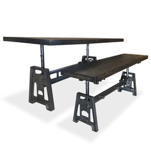 Industrial Adjustable Crank Dining Table Bench Set – Matching Iron Base-Rustic Deco Incorporated