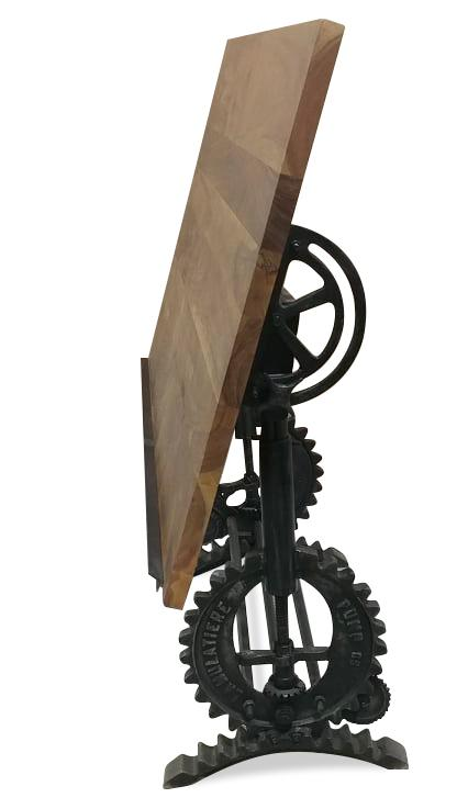 Industrial Adjustable Height Drafting Desk - Crank Base - Tilt Top - Rustic Deco Incorporated