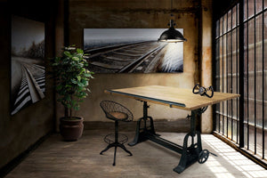 Industrial Architect's Office Desk - Adjustable Crank Cast Iron Base - Tilt Top - Rustic Deco Incorporated
