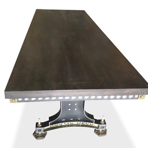 Industrial Adjustable Height Conference Table - Steel Brass - Brunel - Dark-Rustic Deco Incorporated