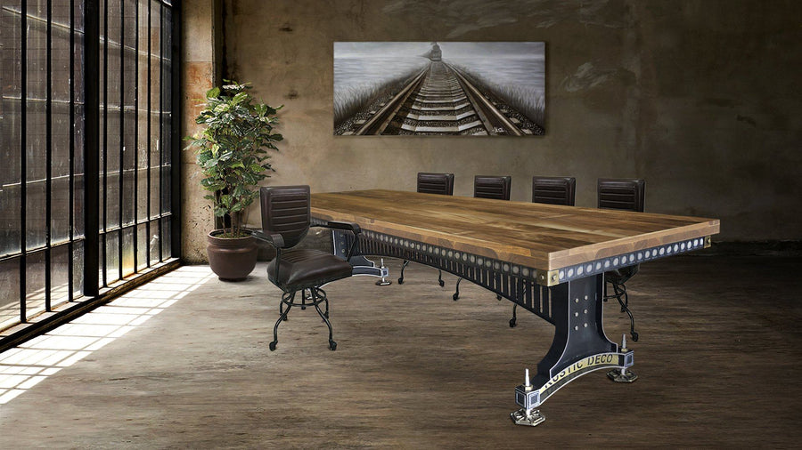 Industrial Adjustable Height Conference Table - Steel Brass - Brunel - Java-Rustic Deco Incorporated