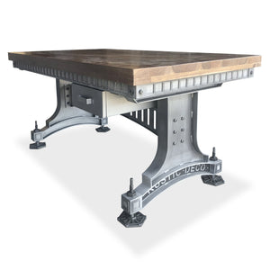 Industrial Adjustable Height Office Desk with Drawer - Iron Steel - Brunel Java-Rustic Deco Incorporated