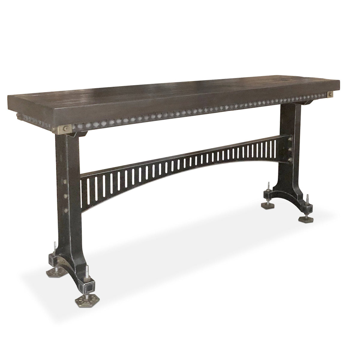 Industrial Adjustable Height Sofa Table - Steel Brass - Brunel - Dark Dining Table Rustic Deco