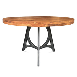 "Art Deco Industrial Dining Table - Iron Base - 48"" Round Solid Wood Top-Rustic Deco Incorporated"