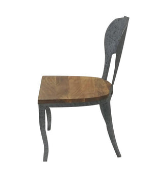 Industrial Art Deco Classic Metal Wood Dining Chair Set of 2 - Rustic Deco Incorporated