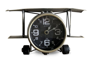 Industrial Aviation Metal Airplane Desk Clock - Rustic Deco Incorporated