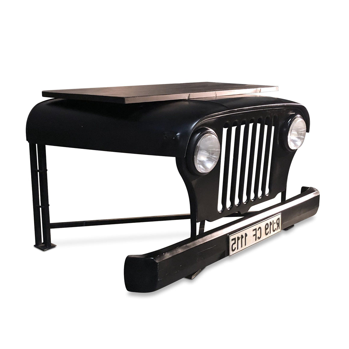 Industrial Black Jeep Office Desk - Working Headlights - Rustic Deco Incorporated