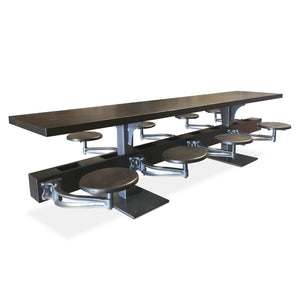 Industrial Cafeterial Style Table with Attached Stools for 8 Dining Table Rustic Deco