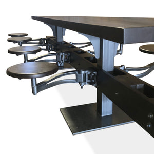 "Vintage Industrial Cafeteria Dining Table - 8 Floating Seats - 120"" Long-Rustic Deco Incorporated"