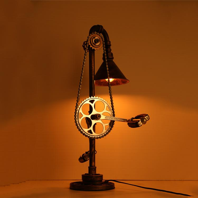 Industrial Bicycle Sprocket Iron Pipe Table Lamp - Pedal Steampunk Light - Rustic Deco Incorporated