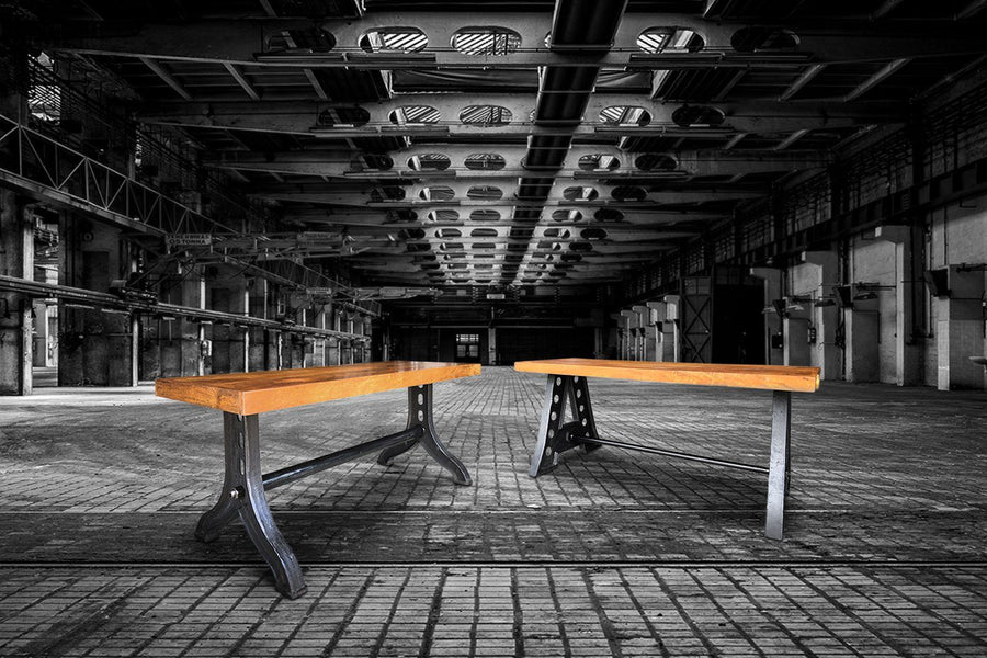 Industrial Dining Bench - Cast Iron and Reclaimed Hardwood Bench Rustic Deco