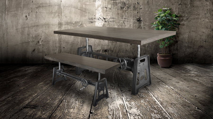 Industrial Dining Bench Seat - Cast Iron Base - Adjustable Height – Grey Top Bench Rustic Deco
