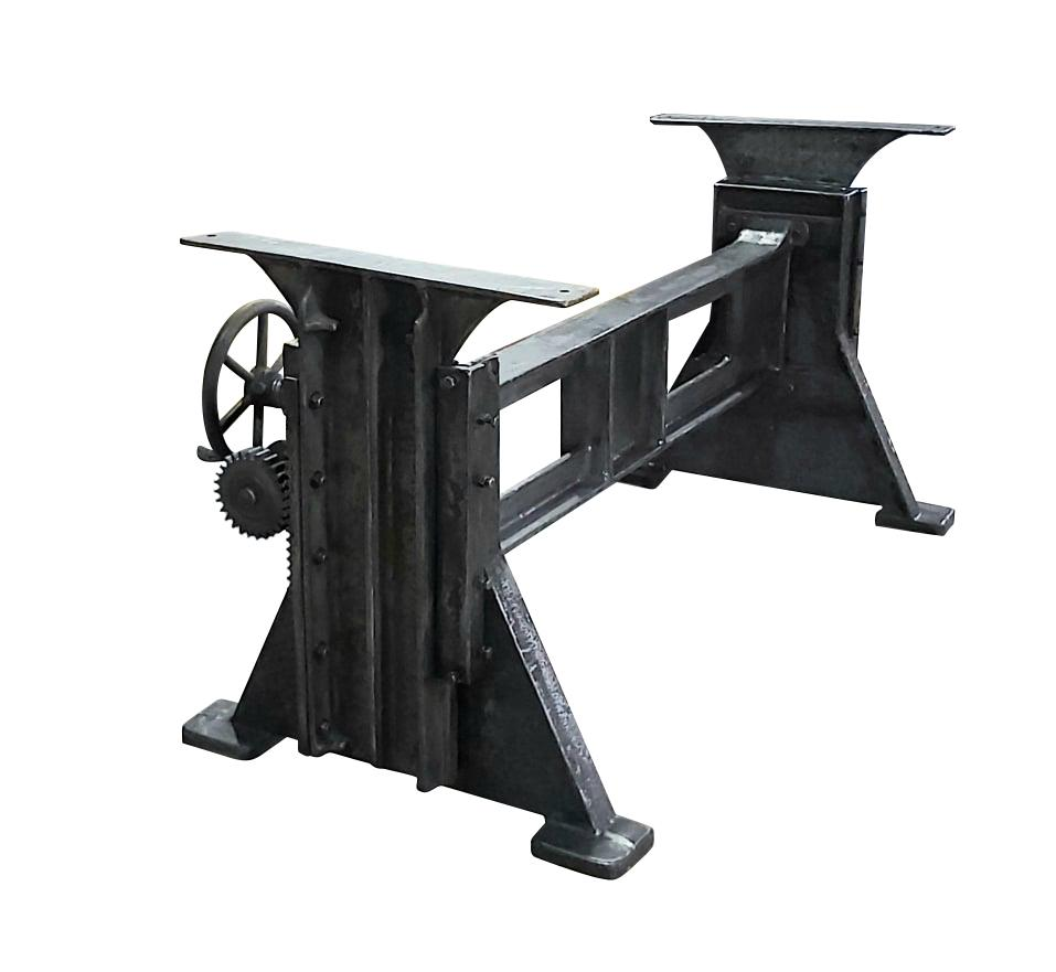 Industrial Dining Table Desk Base - Adjustable Height Crank - Cast Iron - Rustic Deco Incorporated