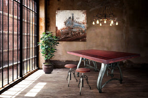 Industrial Dining Table - Adjustable Crank Base - Casters - Provincial Top - Rustic Deco Incorporated