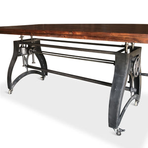 Industrial Dining Table - Adjustable Crank Iron Base - Casters - Provincial-Rustic Deco Incorporated