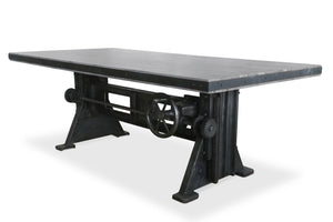 Industrial Dining Table Adjustable Height - Crank Cast Iron Base - Grey - Rustic Deco Incorporated